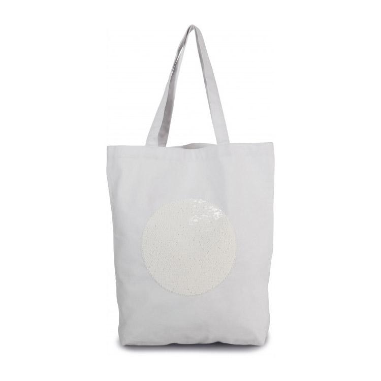 sac en coton blanc et sequins