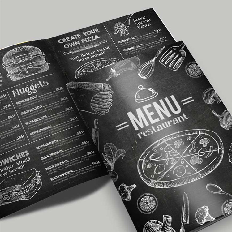 Menu avec impression recto / verso