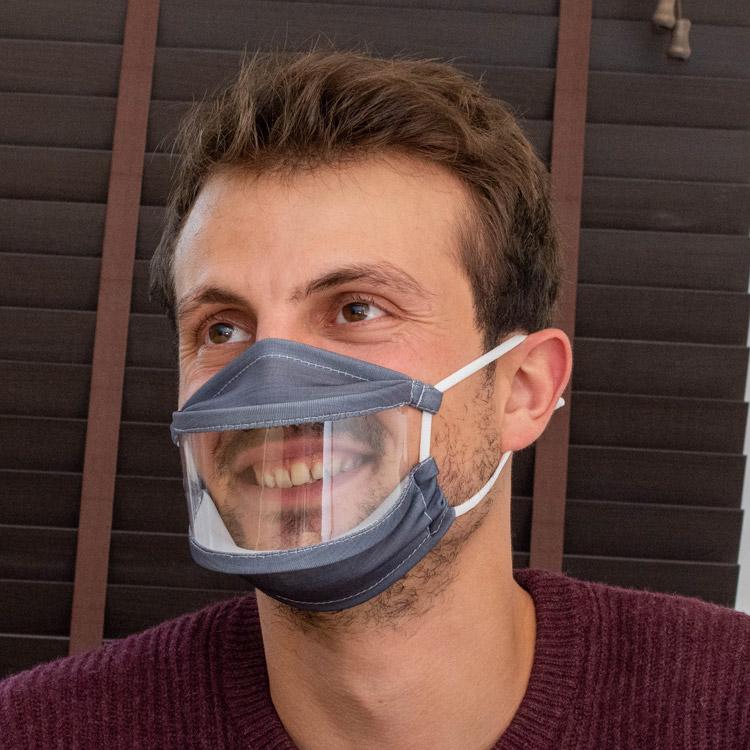 Masque de protection en tissu avec fenêtre transparente