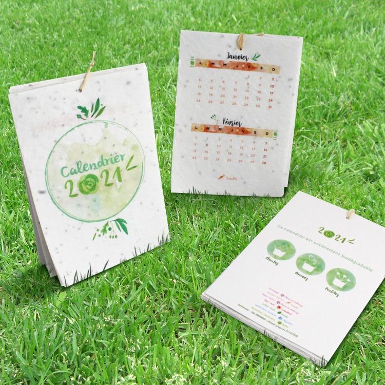 Calendrier à semer en papier à graines